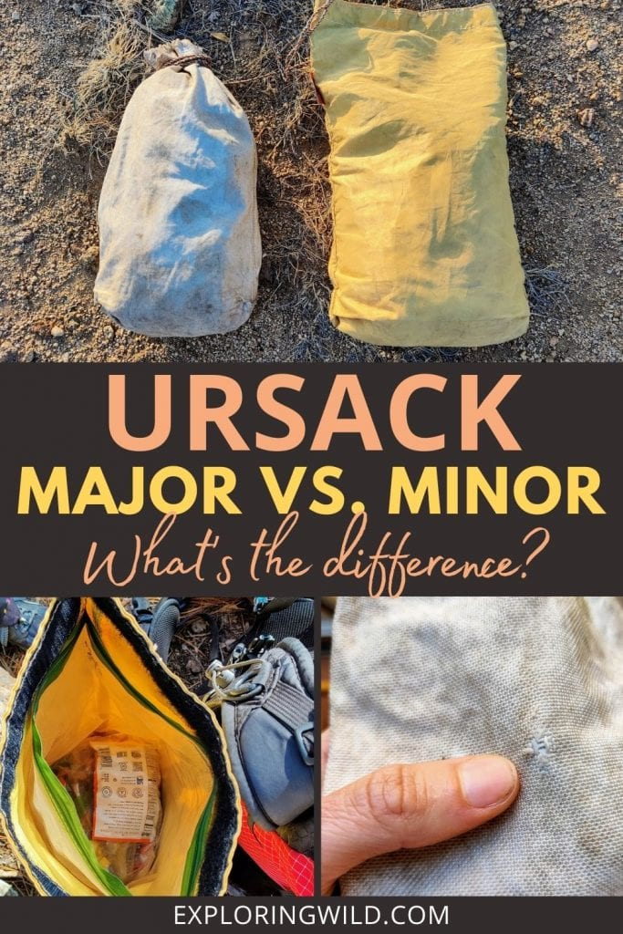 Pictures of Ursack food storage bags for backpacking